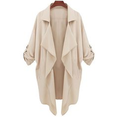 SheIn(sheinside) Beige Long Sleeve Casual Loose Pockets Coat (€12) ❤ liked on Polyvore featuring outerwear, coats, jackets, cardigans, tops, beige, leather-sleeve coats, long sleeve coat, pink waterfall coat and waterfall coats