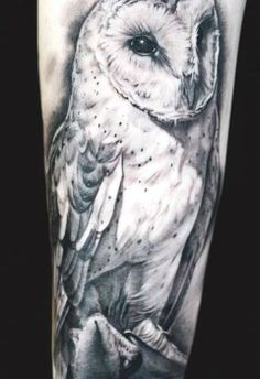 this tat of a barn owl is very realistic looking and the tattoo artist did a great job inking the design