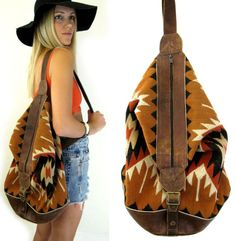 SOUTHWESTERN Tapestry Kilim NAVAJO Woven Aztec TRIBAL Wool Leather Backpack/ Bucket Bag