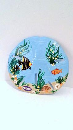 Items similar to Mermaid under the sea hand painted sand dollar beach home decor acrylic art accents on Etsy Seashell Painting, Seashell Art, Seashell Crafts, Stone Painting, Painting Tips, Starfish, Sand Crafts, Rock Crafts, Painted Sand Dollars