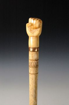 Cane, whaler made, fist of whale ivory 1840