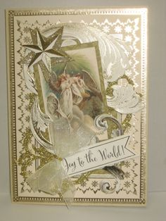Christmas 2014 Card made with Anna Griffin Holiday Traditions Card Kit & die w/my own Print Master  angel graphic.  By Sandi Beecher