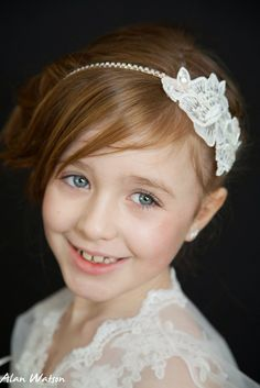 Lace and rhinestone headband first holy communion / flower girl hair accessory luxury designer  Image by Alan Watson Dress by Elizabeth Welsh Hair accessory by www.lhgdesigns.co.uk