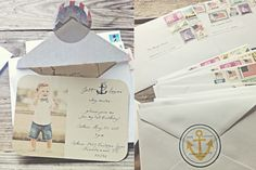 a little vintage--boxes wrapped in maps, invite wording