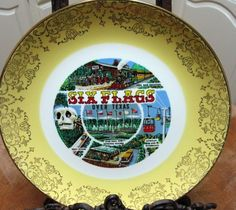 Six Flags Over Texas Plate 60's Souvenir Yellow by sweetie2sweetie