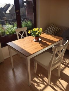 Excellent condition dining table and chairs available together or separately. Purchased from IKEA.