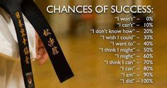 Your chances of success in martial arts depends on your self talk, as per attached.  #quantummartial