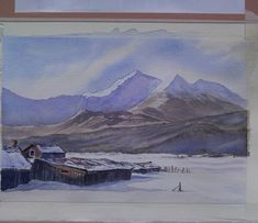 Original watercolor painting by JP Wisniewski A sheep barn. You can find this painting for sale on ETSY. Arches Paper, Paintings For Sale, Sheep, Watercolor Paintings, Barn, Mountains, The Originals, Winter, Etsy
