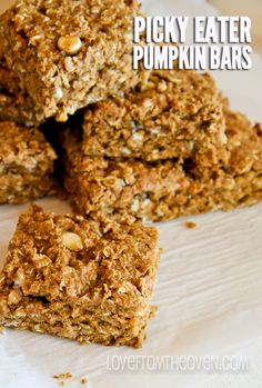 Picky Eater Pumpkin Bar Recipe - I didn't exactly dislike it, I just don't like it enough to make it again. I expected it to be like a granola bar because of the photo, but mine turned out more like a gooey cake. I wanted a pumpkin granola bar not cake.