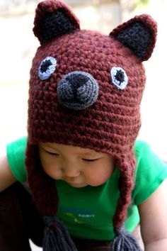 Bear Hat baby brown crochet hat Brown baby hat by ForeverValues