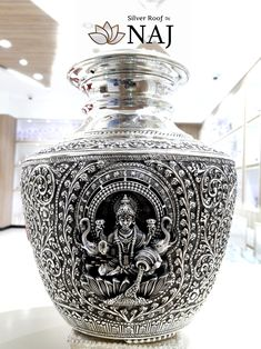 Aalayam Collections: Antique Lakshmi Devi Binde with extraordinary carvings available Only @ Silver Roof by NAJ jeweller, Nellore. Call or WhatsApp @ 9032041323 — at Naj Jewellery. Silver Pooja Items, Pooja Room Door Design, Silver Ornaments, Silver Trays, Gold Wood, Antique Silver, Silver Jewelry, Hinduism, House