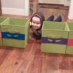 Customized TMNT Teenage Mutant Ninja Turtles toy bins for a kids room