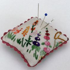 Vintage embroidered pin cushion