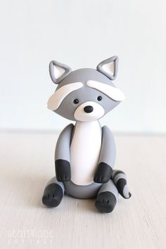 Raccoon Clay Cake topper and keepsake perfect by HeartmadeCottage