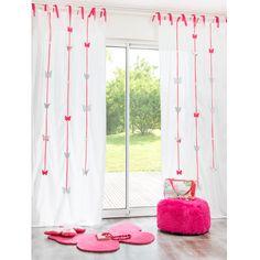 Cortina con lazos de algodón blanca y rosa 105×250cm FARFALLA