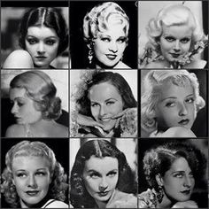 1930s female movie stars - L to R from the top: Myrna Loy; Mae West; Jean Harlow; Constance Bennett; Paulette Goddard; Bette Davis; Ginger Rogers; Vivien Leigh; Norma Shearer.