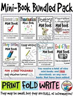 Mini Book Bundled Pack (grammar, punctuation, parts of speech, story, etc.) from The Classroom Sparrow on TeachersNotebook.com -  (60 pages)  - Students no longer have an excuse for misplacing their notes. Give students these mini books, so that students can easily store it in their binders as a reference when completing ANY form of writing.