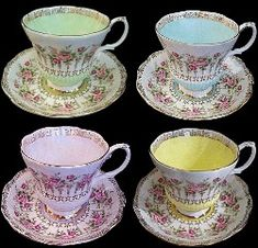 Royal Albert - Green Park Series - Series of Six: Blue, Green, Purple, Pink, Turquoise, and Yellow..c.1960s-70s