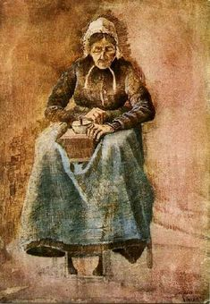 Vincent van Gogh: The Watercolours. Woman grinding coffee. 1881.