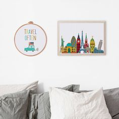 World Travel cross stitch pattern modern cross by ThuHaDesign