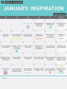 January Inspiration Challenge Calendar #motivationmonth #goals #inspiration