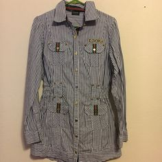 """🌹Vintage Coogi striped button up. 90s Vintage Coogi brand size large blue and white striped button up. Buttons are gold and stamped with """"cg"""". Says Coogi above left pocket. It's stretchy in the middle and looks like it might have had a belt at one time. Does not affect wear. My regular model isn't home for pics. My son did graciously put this on. He is 5 foot 6 and 165 pounds. He fit in it but it was a tight squeeze. I have that picture upon request. Size states large and I believe it to be…"""