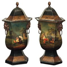 Pair of English Regency Covered Tole Urns | From a unique collection of antique and modern vases at http://www.1stdibs.com/furniture/more-furniture-collectibles/vases/