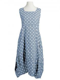 Damen Leinenkleid mit Punkten, hellblau von Diana bei www.meinkleidchen.de