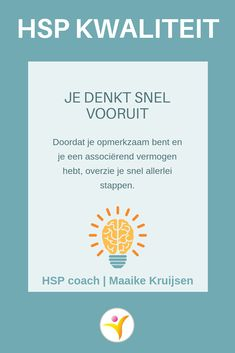 Vooruit denken - HSP kwaliteit #hsp #coaching #hoogsensitief Highly Sensitive Person, Sensitive People, Sensitive Quotes, Just Be You, Anti Stress, Spiritual Life, Coaching, Self Development, Introvert
