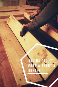 If you are working with pallet wood and want straight boards, you could use a jointer. I don't have one, so I had to come up with another method. #Board, #BuildWithPallets, #Building, #JoiningPalletWood, #PalletProjects, #ReclaimedWood, #Woodworking #DIYPalletVideoTutorials