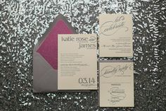 CYNTHIA Suite Glitter Package, grey and pink, wine, grey, ecru, ivory, letterpress wedding invitations, glitter, modern invitation