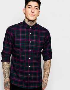 Image 1 ofASOS Shirt In Poplin Grid Check With Long Sleeves