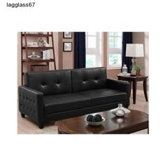 Futon Sofa Bed and Chair Set Faux Leather Bedroom Living Room Furniture Modern