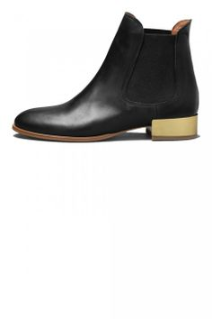 & Other Stories black ankle boot with gold heel
