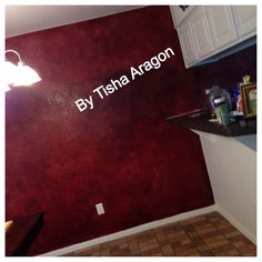 Red glazed dining room wall