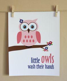 Little Owls Wash Their Hands art print
