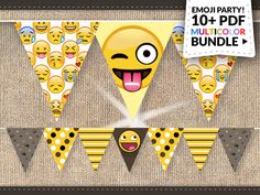 Emoji Party Supplies Instant Download: BIG Emoticon Smiley Banner Pack Emoji…