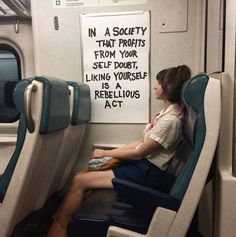 """""""In a society that profits from your self doubt, liking yourself is a rebellious act"""" - Public Art - DIRT WORSHIP - by Caroline Caldwell The Words, Pretty Words, Beautiful Words, Beautiful Images, Mood Quotes, Life Quotes, Story Quotes, Poetry Quotes, Action For Happiness"""