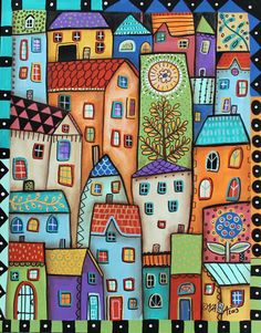 Purchase posters from Karla Gerard. All Karla Gerard posters are ready to ship within 3 - 4 business days and include a money-back guarantee. Karla Gerard, House Quilts, Naive Art, Art Abstrait, Whimsical Art, Doodle Art, Art Lessons, Home Art, Painting & Drawing