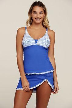 e8444dec8fff4 Blue Striped Summer Fashion 2pcs Tankini Bathing Suit MB410172-4 –  ModeShe.com Tank