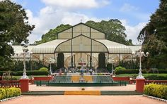 Glasshouse and fountain at lalbagh
