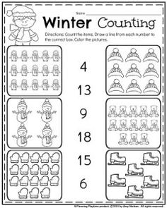 January Kindergarten Count worksheet. Count the items. Draw a line from each number to the correct box. Color the pictures.