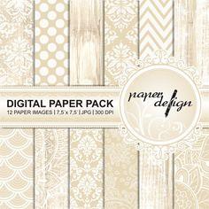 digital paper pack Hochzeit Download creme weiß Damast von Stilboxx