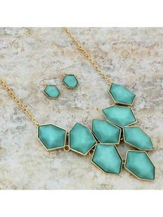 www.ewam.com Shimmering Mint and Goldtone Faceted Stone Bib Necklace and Earring Set #shopewam #newarrivals