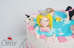 swimming pool cake Pool Cake, Cherry Cake, Cake Creations, Princess Peach, Swimming Pools, Swiming Pool, Pools