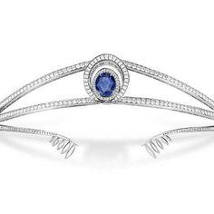 Modern tiara, diamond and sapphire tiara.