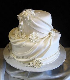 Elegant White Fondant Wedding Cake with Sugar Flowers and Swags | by Graceful Cake Creations