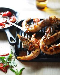 Grilled shrimp with sweet chile sauce - grill pans are the best.