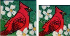 Ceramic Art Tiles-Cardinals Set/2