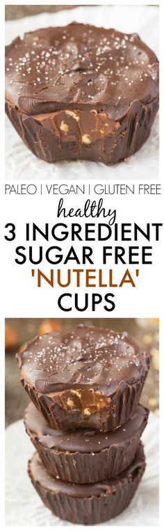 Healthy 3 Ingredient 'Nutella' Cups made with NO sugar, NO dairy and ridiculously easy AND delicious! {vegan, gluten free, paleo recipe}- thebigmansworld.com